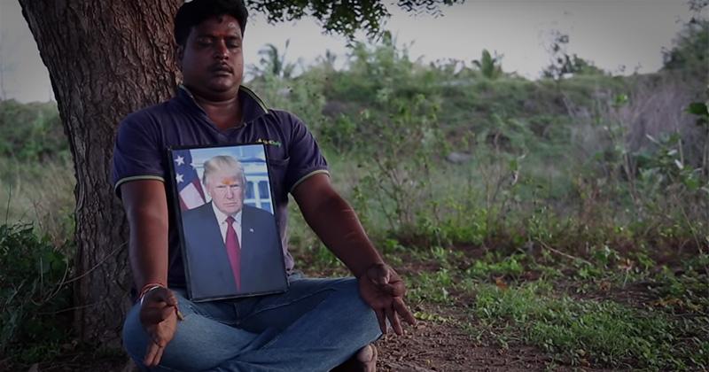Indian man worship trump