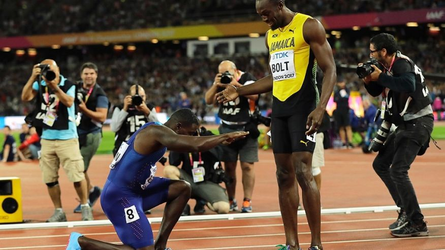 Gatlin bowed to Bolt after beaten him