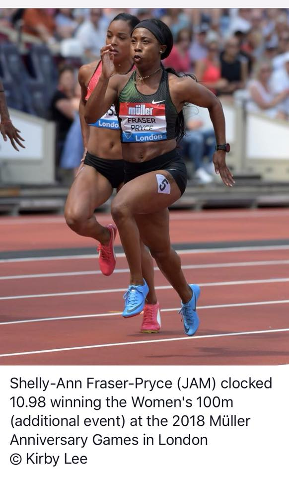 New mum Shelly-Ann Fraser-Pryce wins 100m. Clocked 10.98