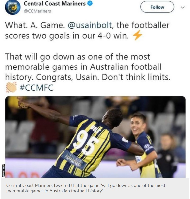 Usain Bolt has scored his first goals for a professional football team, getting two on his maiden start for Central Coast Mariners in a friendly.