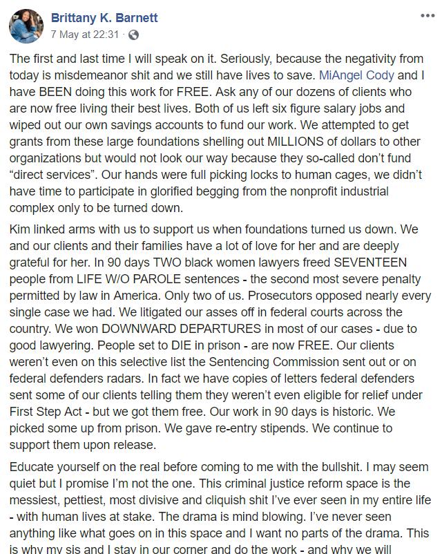 Brittany K. Barnett Facebook statement