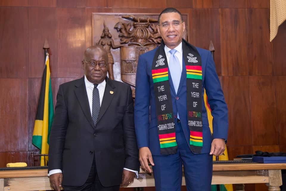 Prime Minister, Andrew Holness (right), and  President of the Republic of Ghana, His Excellency Nana Addo Dankwa Akufo-Addo, during a joint press statement on Saturday (June 15) at Jamaica House.