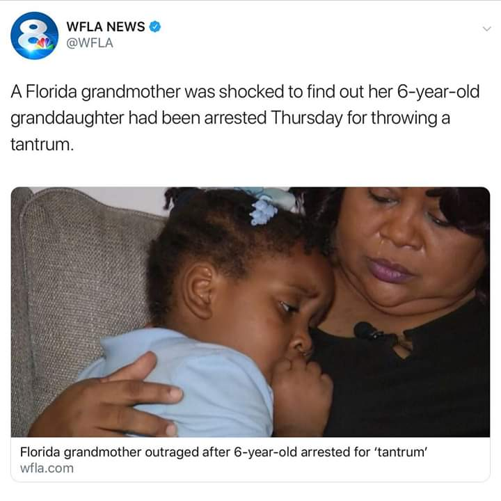 6 Year Old Black Girl Arrested For Tantrum.