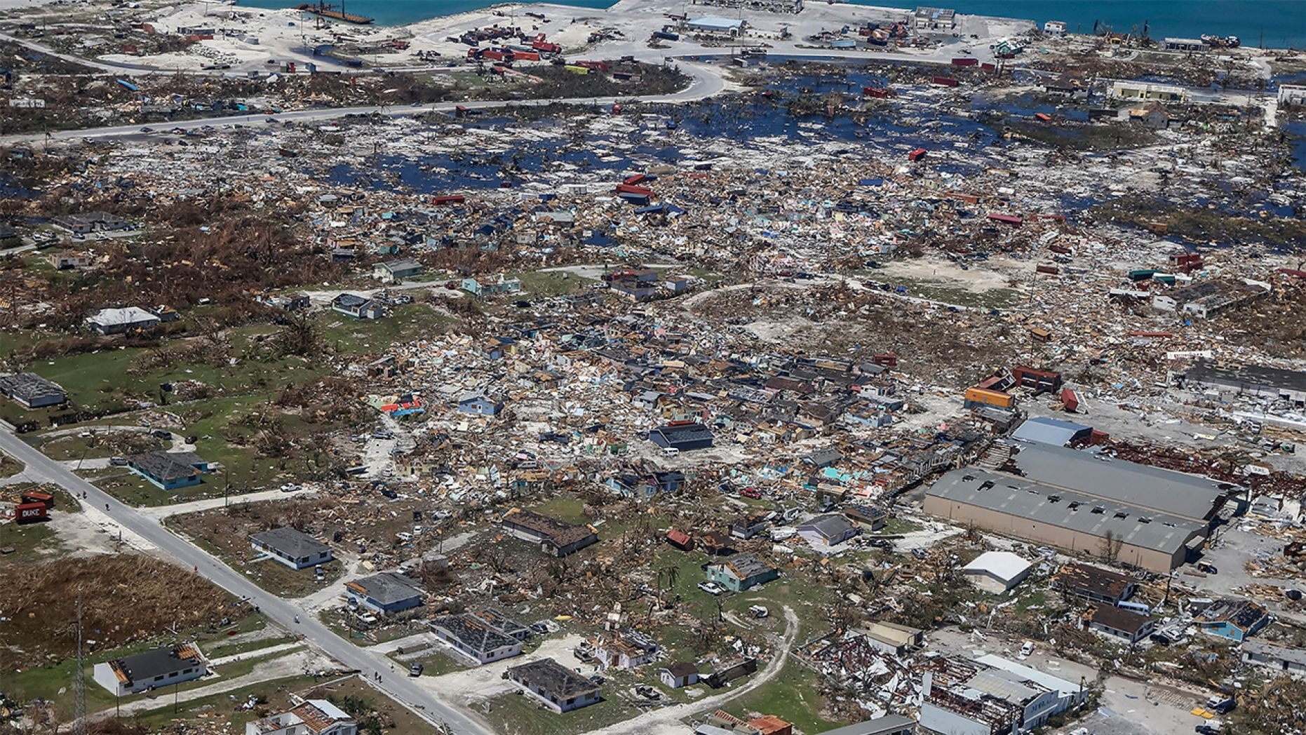 An aerial view of floods and damages from Hurricane Dorian on Freeport, Grand Bahama on September 5, 2019.  (AFP/Getty)