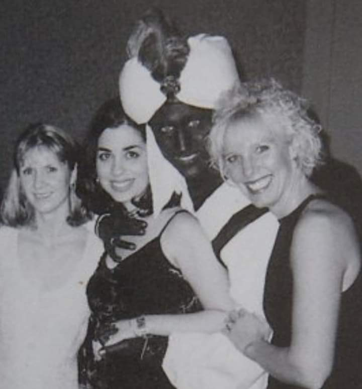 "Justin Trudeau, wearing ""Brownface"" at an Annual Dinner & ""Arabian Nights"" themed costume party, at West Point Grey Academy, in the Spring 2001."
