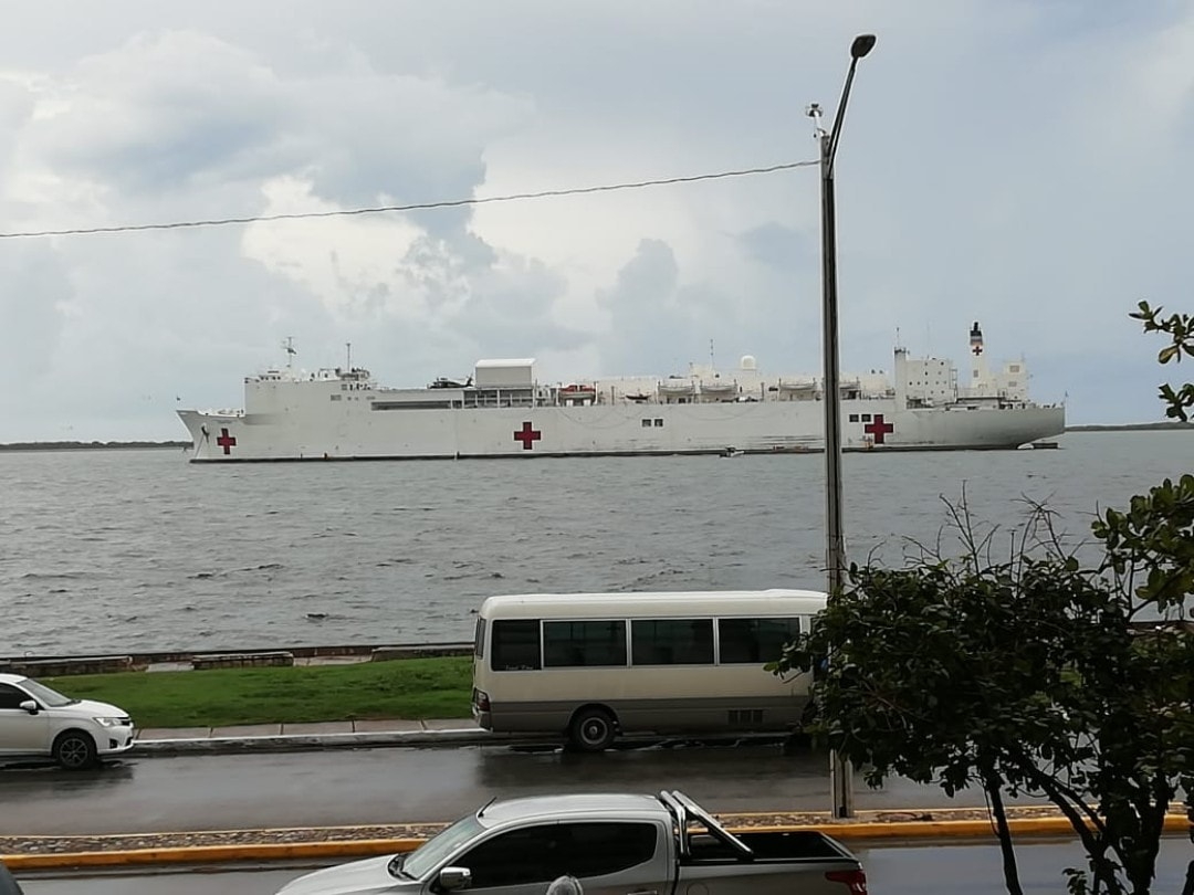 US Navy Hospital Ship USNS Comfort (T-AH 20), anchored in Kingston
