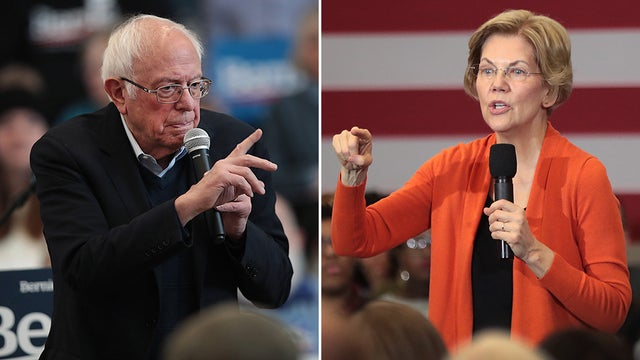 © Getty Images. Bernie and Warren at the Debate