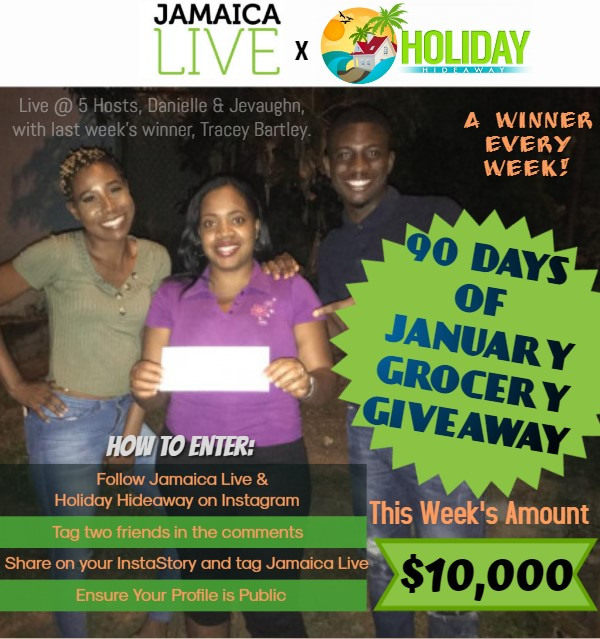 Live @5 Host Danielle & Jevaughn with last week winner of $5,000 Gift Voucher Grocery Giveaways Tracey Bartley