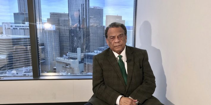"""Former Atlanta Mayor and U.N. Ambassador Andrew Young, shown in a 2018 photo, talked with WABE's Sam Whitehead on """"All Things Considered"""" to share his thoughts and memories of Dr. Martin Luther King Jr. CREDIT ROBERT RAY / ASSOCIATED PRESS FILE PHOTO"""