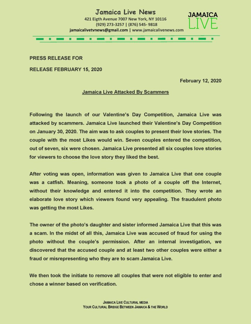 Jamaica Live Attacked By Scammers Press Release