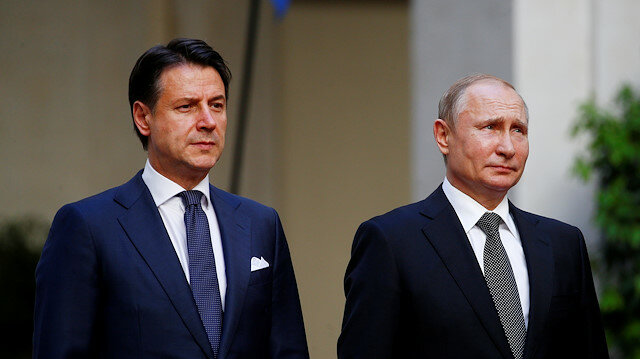 File photo: Russian President Vladimir Putin and Italian Prime Minister Giuseppe Conte