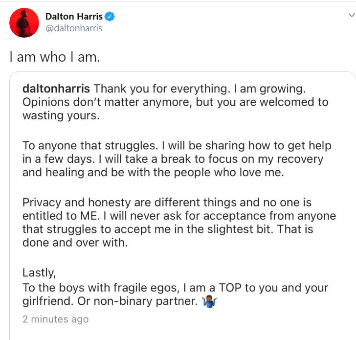 Dalton tweet sexualilty
