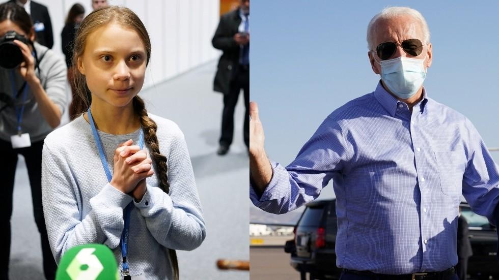 Greta Thunberg and Joe Biden ©  REUTERS/Juan Medina (L)/REUTERS/Kevin Lamarque (R)