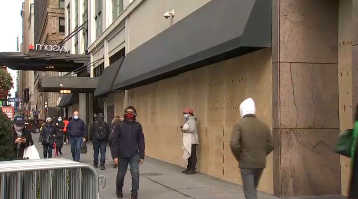 Macy's flagship store in Herald Square boarding up ahead of Election Day