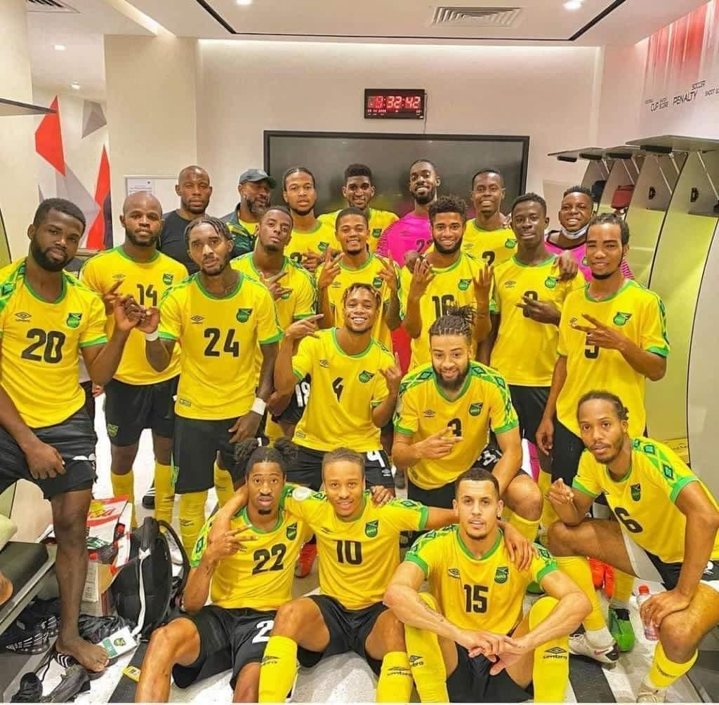 Reggae Boyz celebrating after win in Riyadh