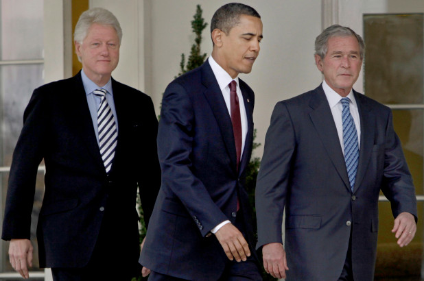 (From left) Former Presidents Bill Clinton, Barack Obama and George W. Bush AP