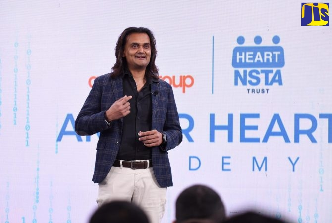 PHOTO: JIS PHOTOGRAPHER Founder and Chief Executive Officer (CEO) of the Amber Group, Dushyant Savadia, addresses the virtual launch of the Amber HEART Academy on Thursday (January 14).