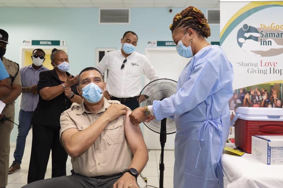 Prime Minister Andrew Holness talking the AstraZeneca vaccine